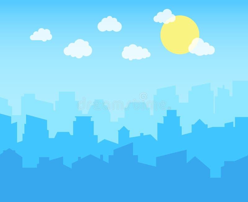 Miasto z niebieskim niebem, biel chmurami i słońcem, pejzaż miejski linii horyzontu płaski panoramiczny wektorowy tło ilustracji