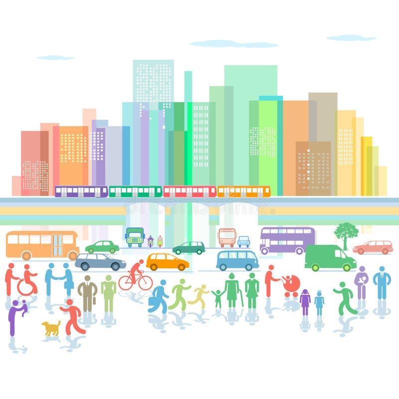 Miasto z ruchem drogowym i pedestrians ilustracji