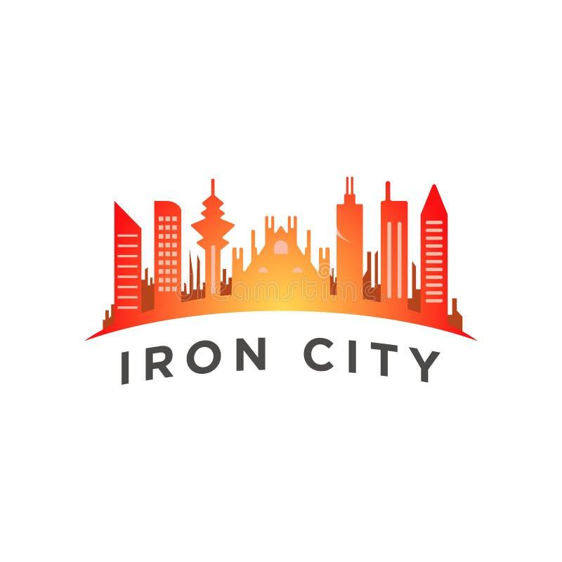 Miasto z wysokim basztowym logo szablonem ilustracji