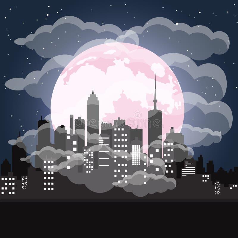 Miasto z zanieczyszczenie problemem Budynki i drapacz chmur, duży miasto krajobraz mieszkanie royalty ilustracja