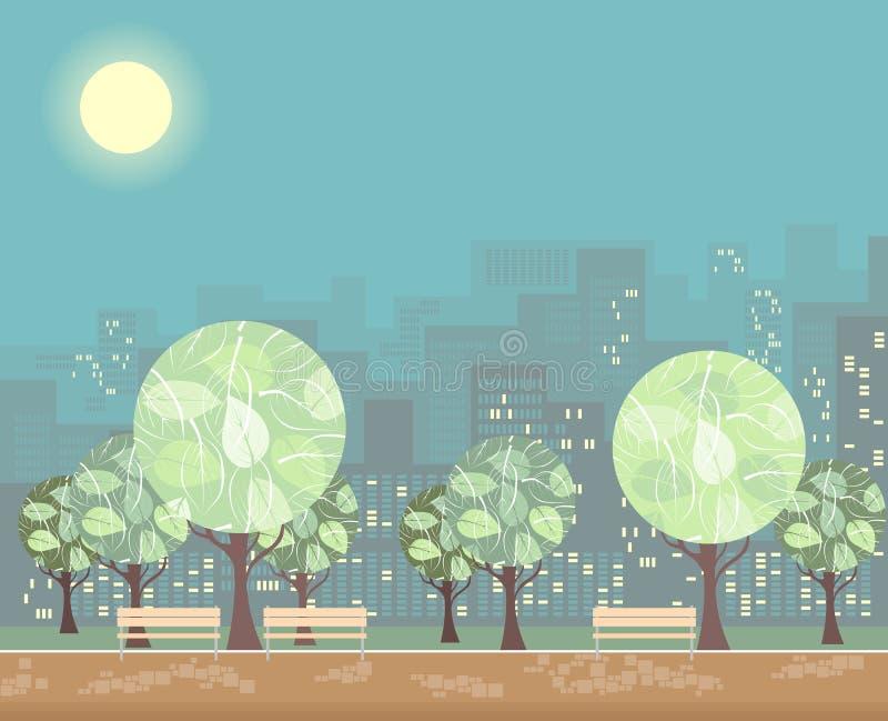 Miasto zieleni park z drzewami i ławkami na tle grodzcy budynki ilustracji
