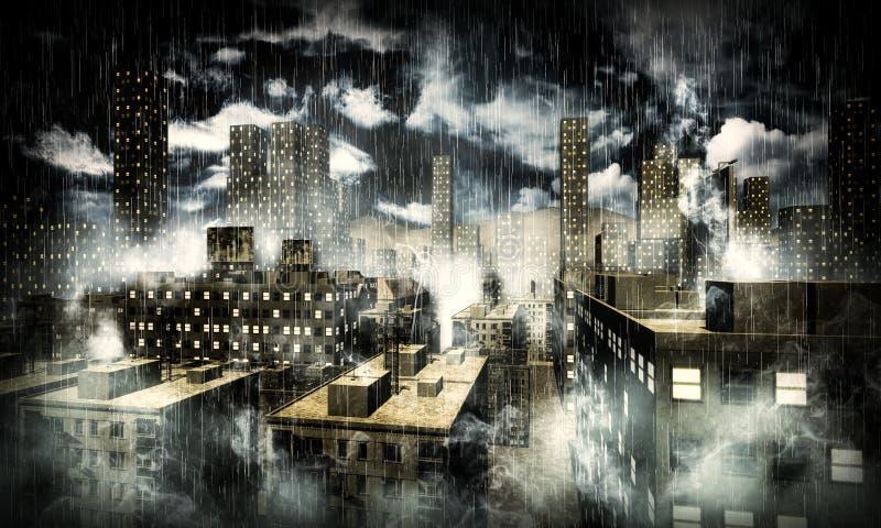miasto zmrok ilustracja wektor