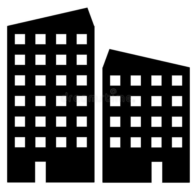 Miastowa budynek ikona w nowożytnym mieszkanie stylu dla sieci ilustracja wektor