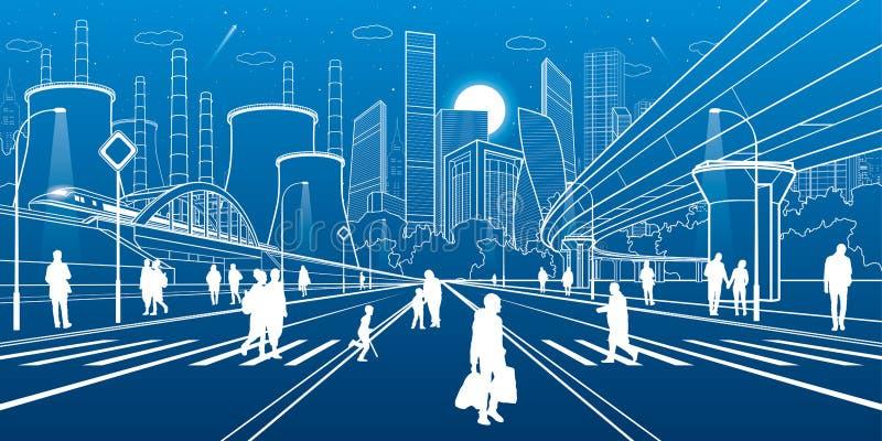 Miastowa infrastruktury ilustracja Ludzie chodzi przy ulicą Taborowy ruch na moscie Iluminująca autostrada Fabryczny termicznej w royalty ilustracja