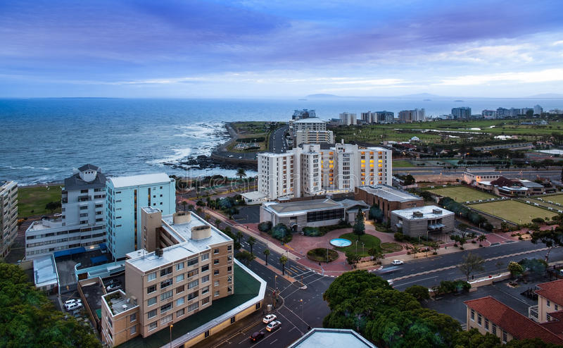 Miastowa miasto linia horyzontu, Kapsztad, Południowa Afryka. fotografia stock