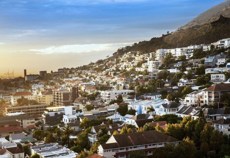 Miastowa miasto linia horyzontu, Kapsztad, Południowa Afryka. obraz royalty free
