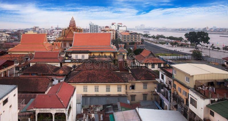 Miastowa miasto linia horyzontu, Phnom Penh, Kambodża, Azja. zdjęcia stock