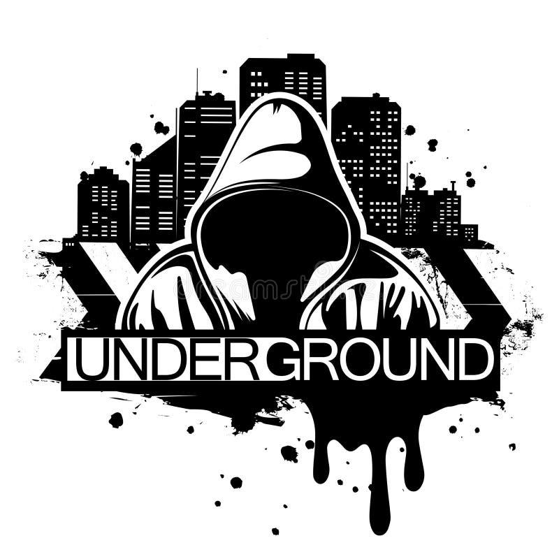 Miastowa stylowa ilustracja mężczyzna w hoodie za miasto sylwetką Uliczny sztuka styl Koszulka druku projekt ilustracji