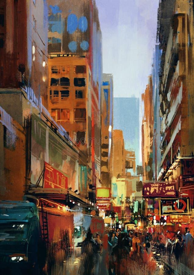 Miastowa ulica z budynkami, miasta alleyway ilustracja wektor
