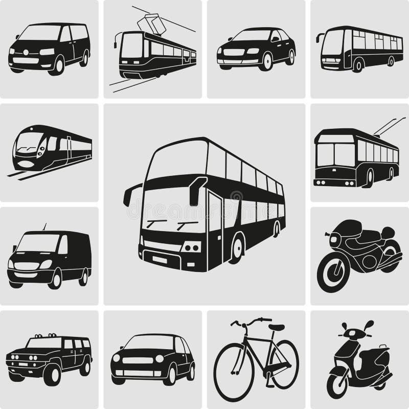 Miastowego transportu szczegółowe ikony ustawiać ilustracja wektor