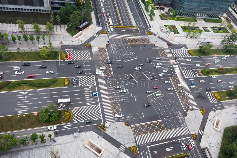 Miastowi autostrad rozdroża - porcelana obraz stock