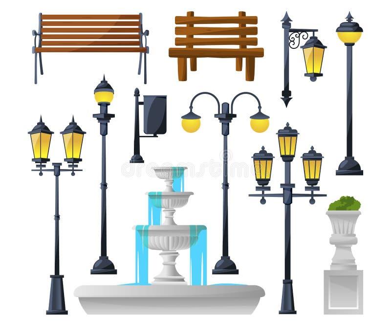 Miastowi elementy ustawiający Latarnie uliczne, fontanna, parkowe ławki i wastebaskets, również zwrócić corel ilustracji wektora royalty ilustracja