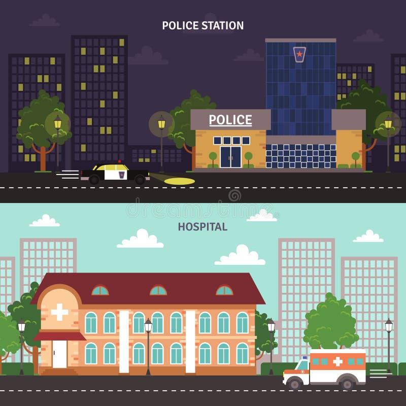 Miastowi krajobrazowi horyzontalni sztandary ustawiający ilustracji
