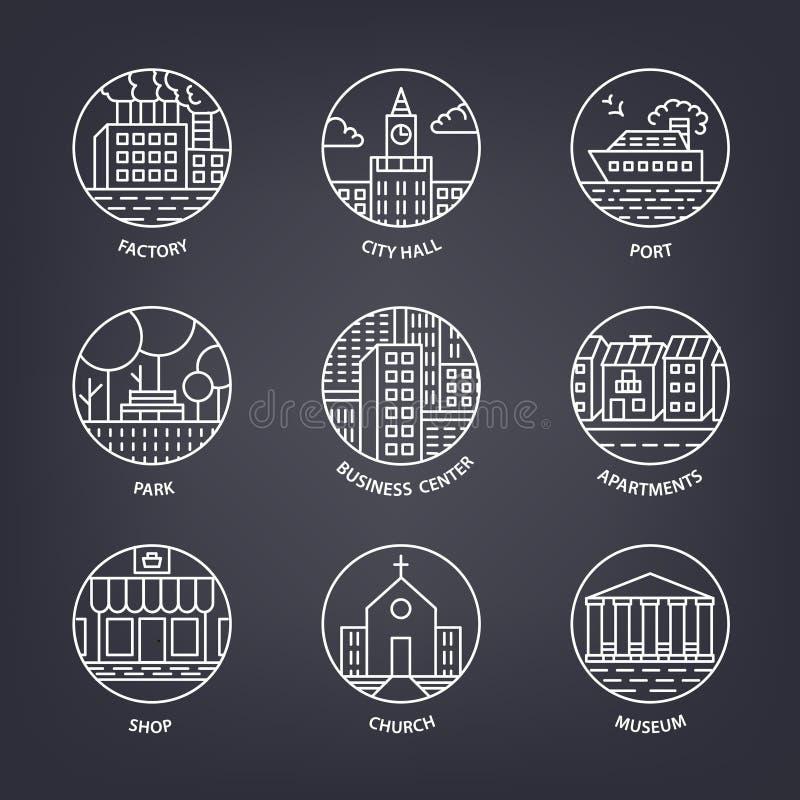 Miastowi krajobrazowi projektów elementy ustawiający w liniowym stylu, zawierają kreskowych budynki, drzewa, port, park, domy ilustracja wektor