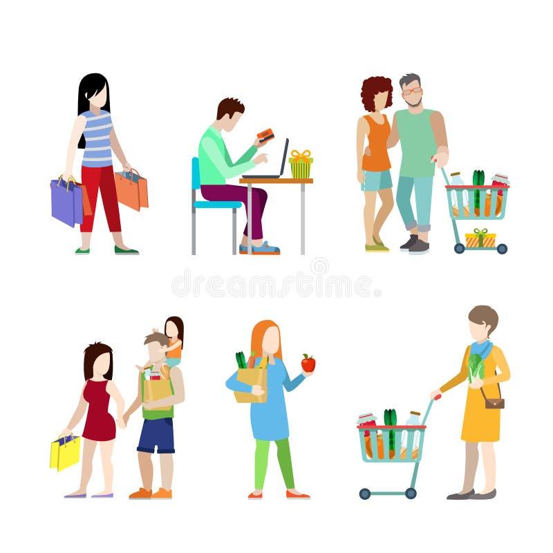 Miastowi młodzi ludzie wózek na zakupy sklepu spożywczego pary fa ilustracja wektor