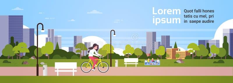 Miastowi parka outdoors kobiety kolarstwa ludzie relaksuje pyknicznego latarnia uliczna pejzażu miejskiego pojęcia sztandaru hory ilustracja wektor