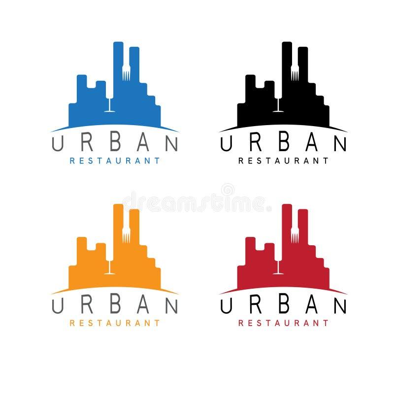 Miastowi restauracyjni emblematy ustawiająca negatyw przestrzeń royalty ilustracja
