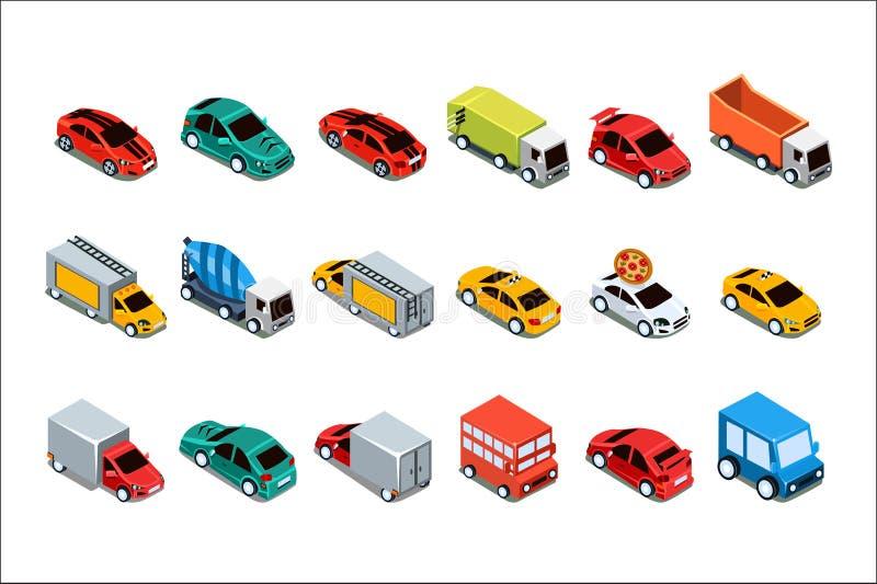 Miastowi samochody i pojazdy ustawiaj?cy, miasto przewiezione wektorowe ilustracje na bia?ym tle ilustracja wektor