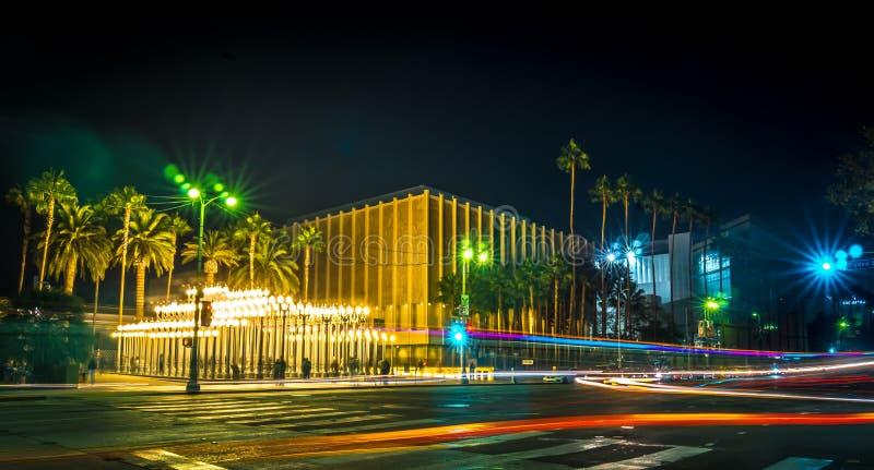 Miastowy światła los Angeles długi ujawnienie przy nocą fotografia stock
