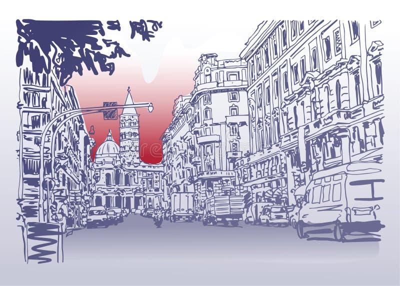 Miastowy architektoniczny nakreślenie rysunek Włochy pejzażu miejskiego drogowa budowa ilustracji