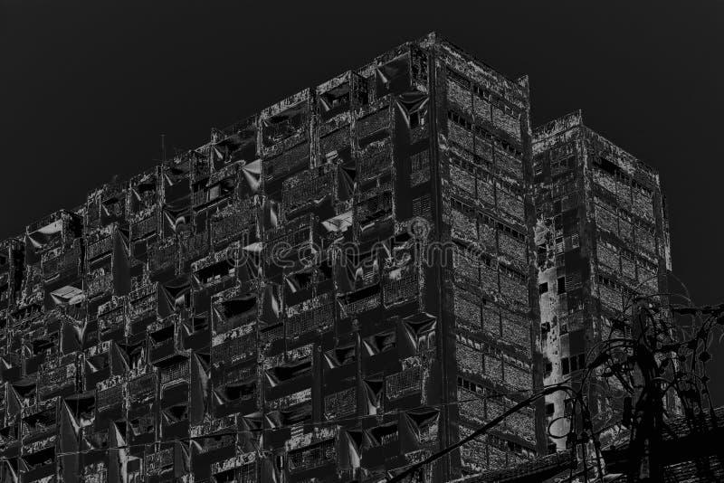 Miastowy decayappatment blok w stonowanym monochromu royalty ilustracja