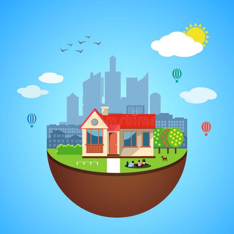 Miastowy dom ziemi pojęcie również zwrócić corel ilustracji wektora ilustracja wektor