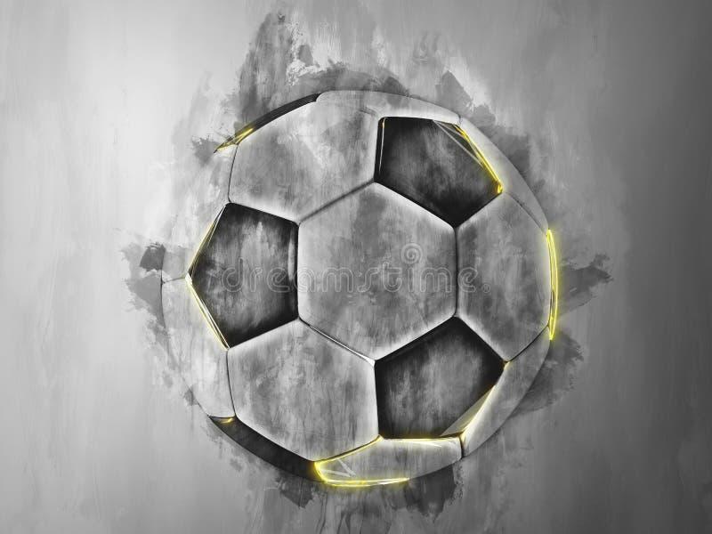 Miastowy futbol z żółtymi głównymi atrakcjami ilustracji
