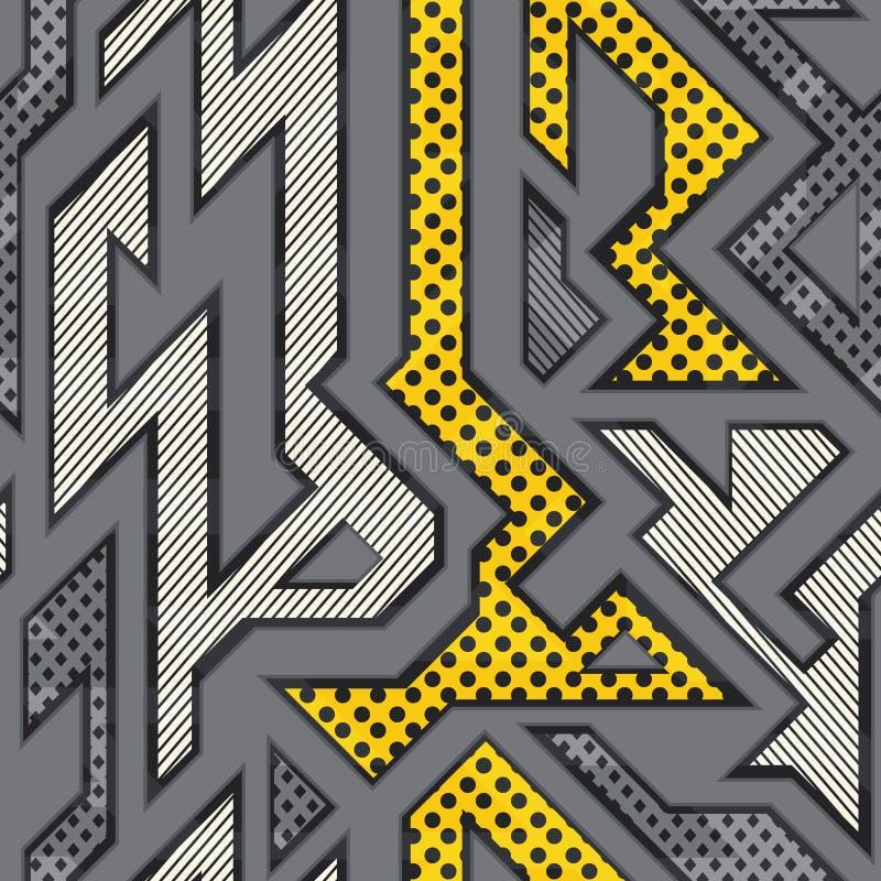 Miastowy geometryczny bezszwowy wzór ilustracja wektor