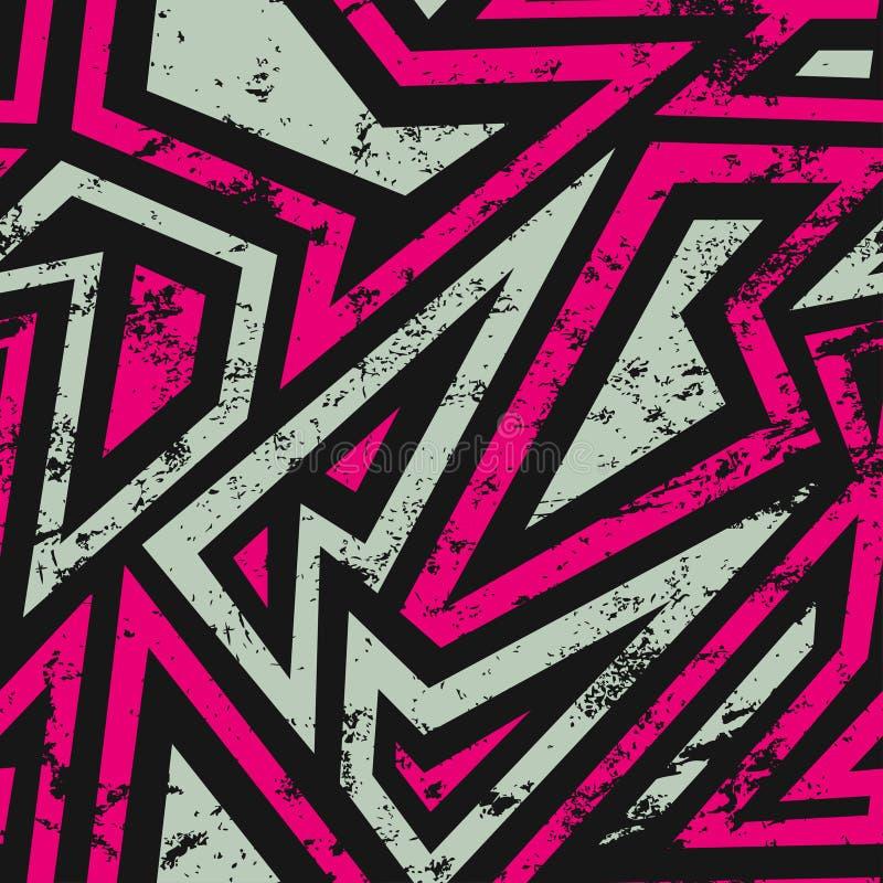 Miastowy geometryczny bezszwowy wzór z grunge skutkiem ilustracja wektor