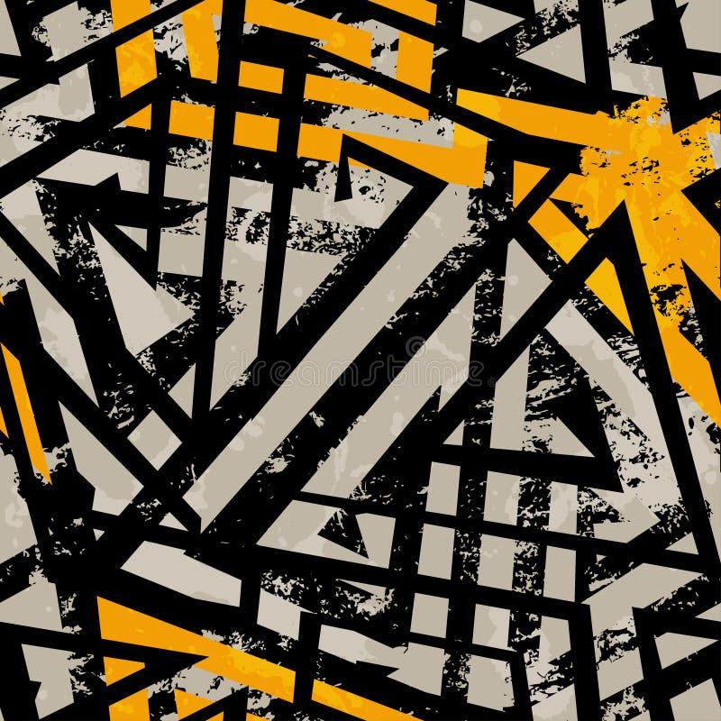 Miastowy geometryczny bezszwowy wzór z grunge skutkiem royalty ilustracja