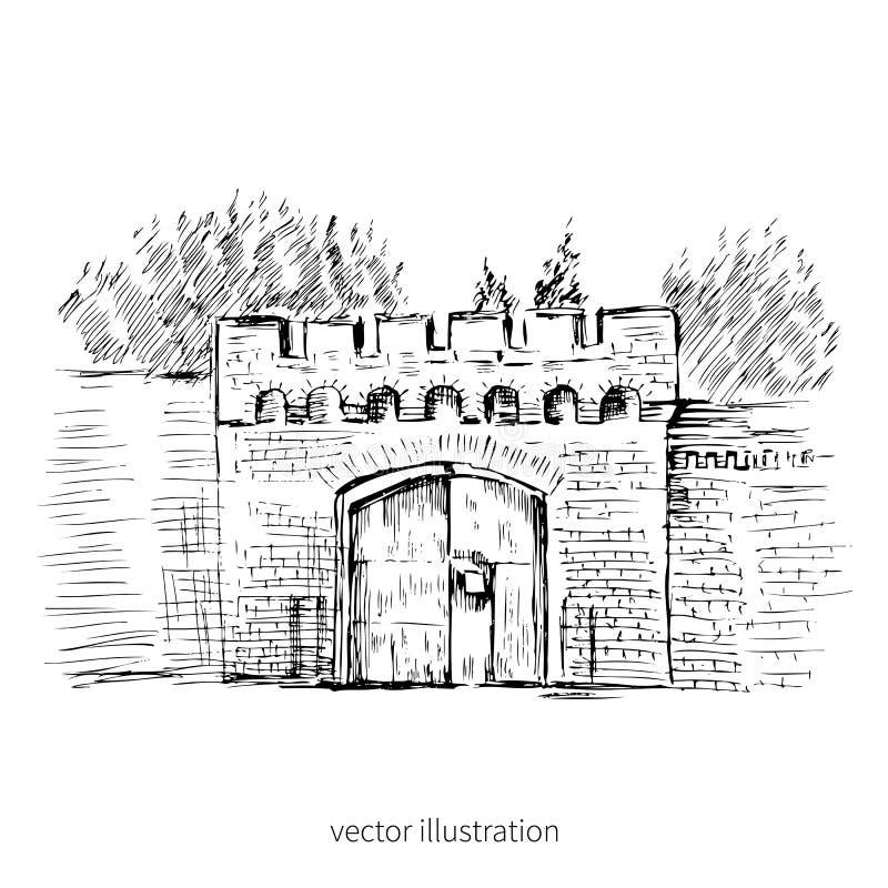 Miastowy konturu atramentu nakreślenie brama Astronomiczny bastion, Rosja, Kaliningrad, Rosyjski punkt zwrotny, ręka rysująca wek royalty ilustracja