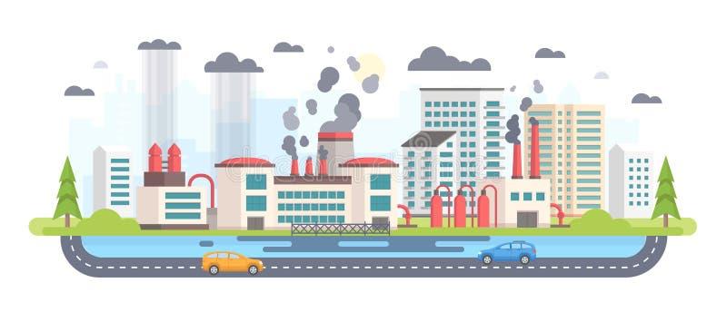 Miastowy krajobraz z fabryką - nowożytna płaska projekta stylu wektoru ilustracja royalty ilustracja