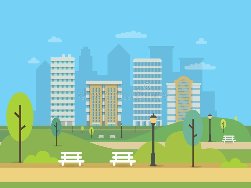 Miastowy krajobraz z różnorodnymi budynkami i zielonym centrala parkiem Ilustracje nowożytny miasto ilustracja wektor