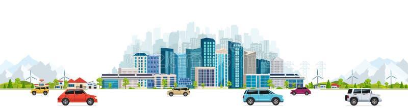 Miastowy krajobraz z wielkimi nowożytnymi budynkami ilustracji