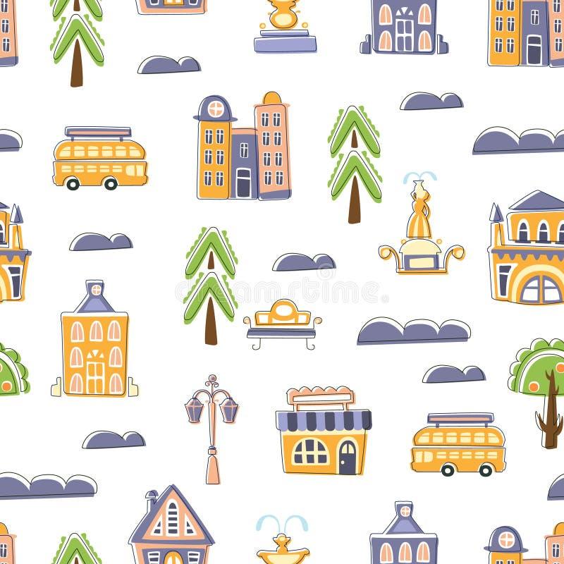 Miastowy Krajobrazowy Bezszwowy wzór, Śliczna ręka Rysujący Jawni budynki, domy i miasto ulicy przedmioty, projekta element Możem ilustracji