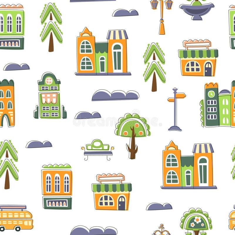 Miastowy Krajobrazowy Bezszwowy wzór, Jawni budynki, domy i drzewa, Śliczna ręka Rysujący, projekta element Możemy Używać dla ilustracji
