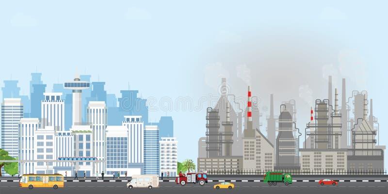 Miastowy miasto krajobraz z współczesnymi budynkami i przemysłowymi dymnymi chmurami niebo ilustracji