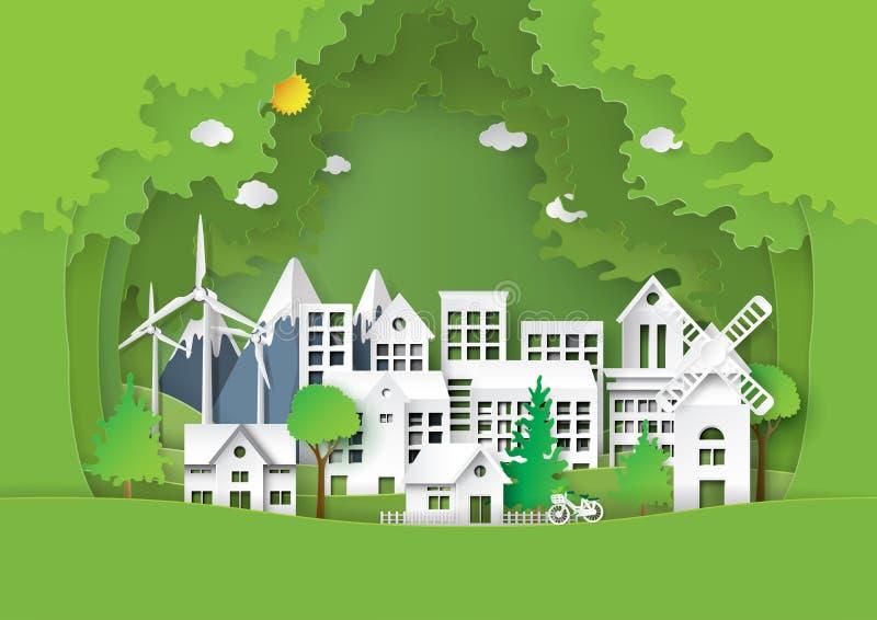 Miastowy miasto z zielonym środowiska pojęciem ilustracja wektor