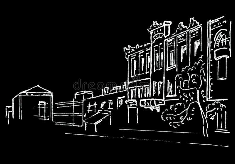 Miastowy nakreślenie uliczny liniowa rysunek na czerń papierze ilustracji