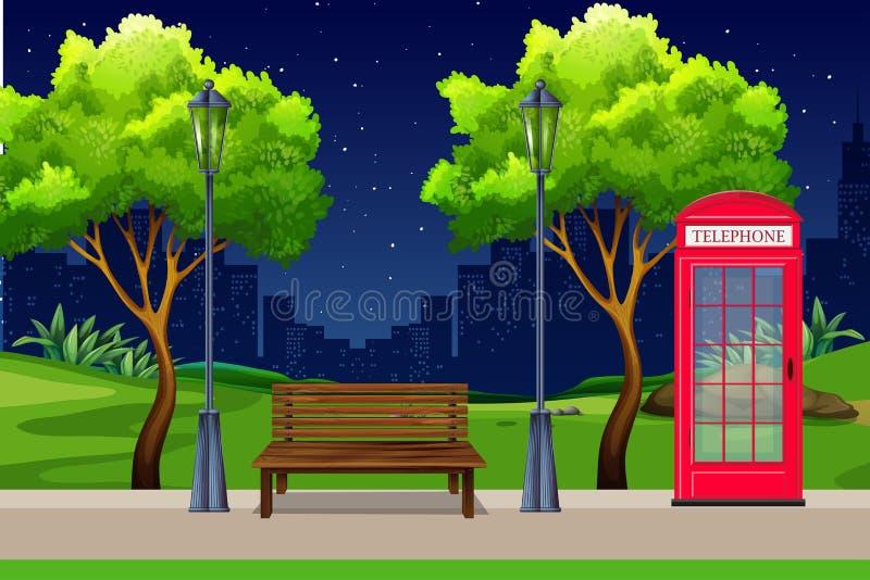 Miastowy park przy nocą ilustracji