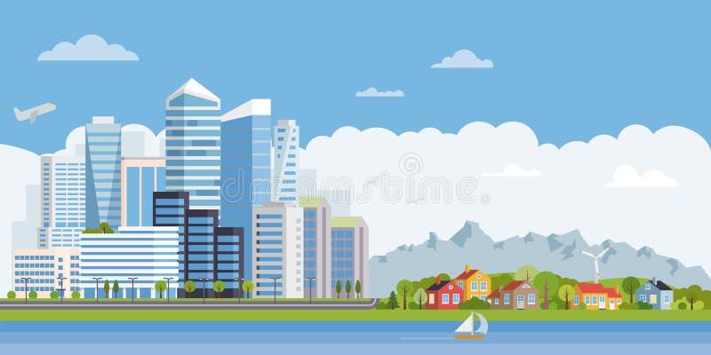 Miastowy podmiejski płaski projekta krajobrazu sztandar ilustracji