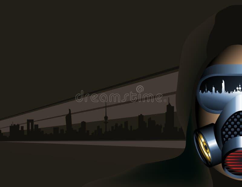 Miastowy scena mężczyzna Jest ubranym zanieczyszczenie maskę ilustracja wektor