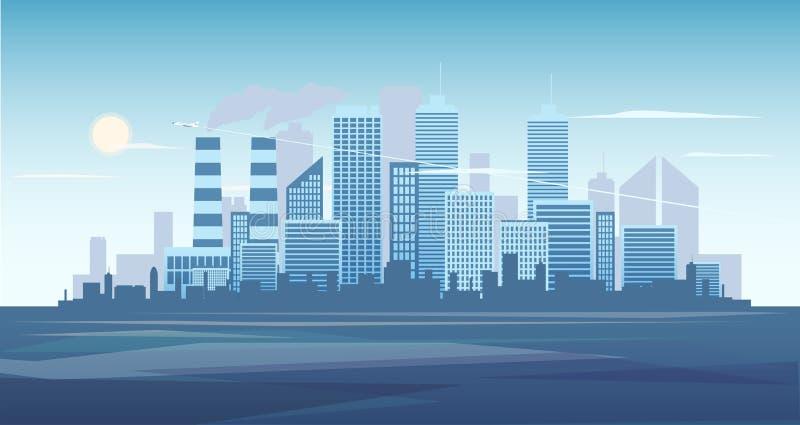 Miastowy tło pejzaż miejski z fabryką Miasto linii horyzontu wektoru ilustracja Błękitna miasto sylwetka Pejzaż miejski wewnątrz ilustracja wektor