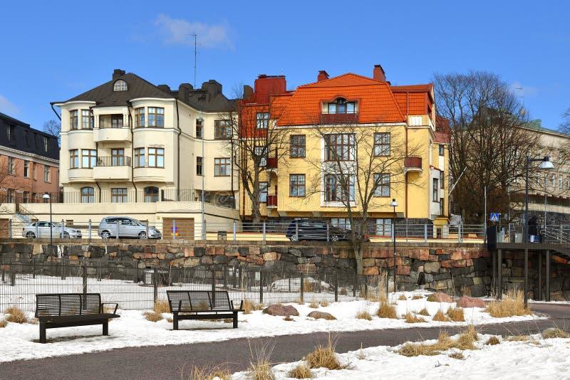 Miastowy widok w wczesnej wiośnie Helsinki, Finlandia obraz royalty free