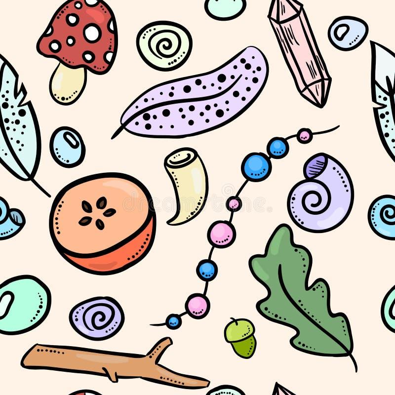 Miastowych czarownic kolorowych doodles bezszwowy wzór Wektorowy druk ilustracji