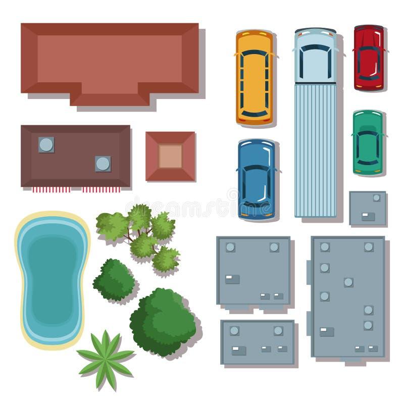 Miastowych elementów odgórny widok ilustracja wektor