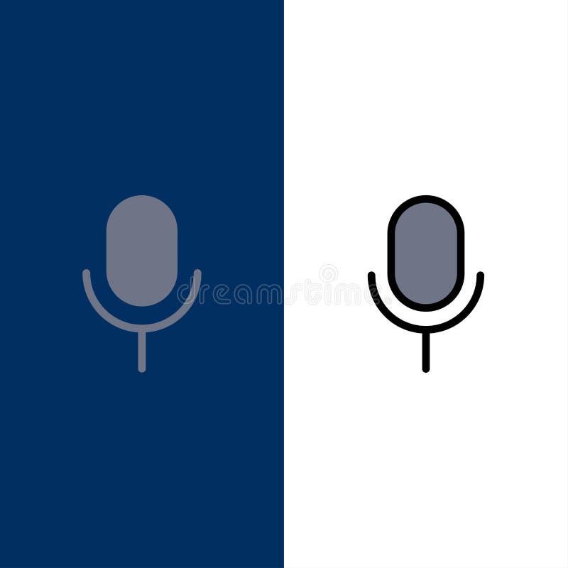 Mic, μικρόφωνο, βασικός, εικονίδια Ui Επίπεδος και γραμμή γέμισε το καθορισμένο διανυσματικό μπλε υπόβαθρο εικονιδίων διανυσματική απεικόνιση