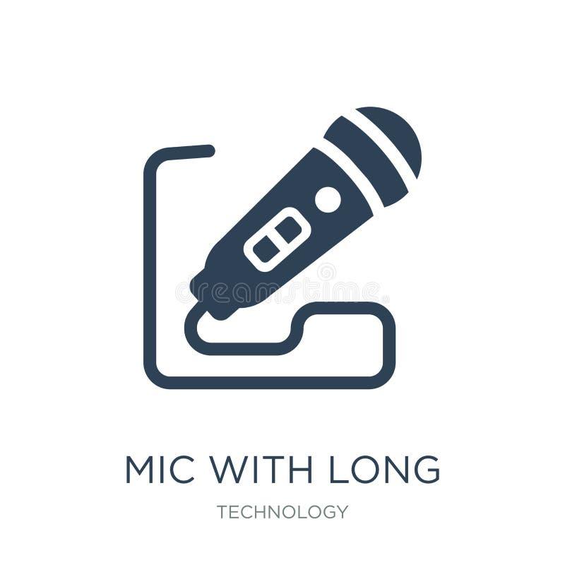 MIC avec la longue icône de câble dans le style à la mode de conception MIC avec la longue icône de câble d'isolement sur le fond illustration stock
