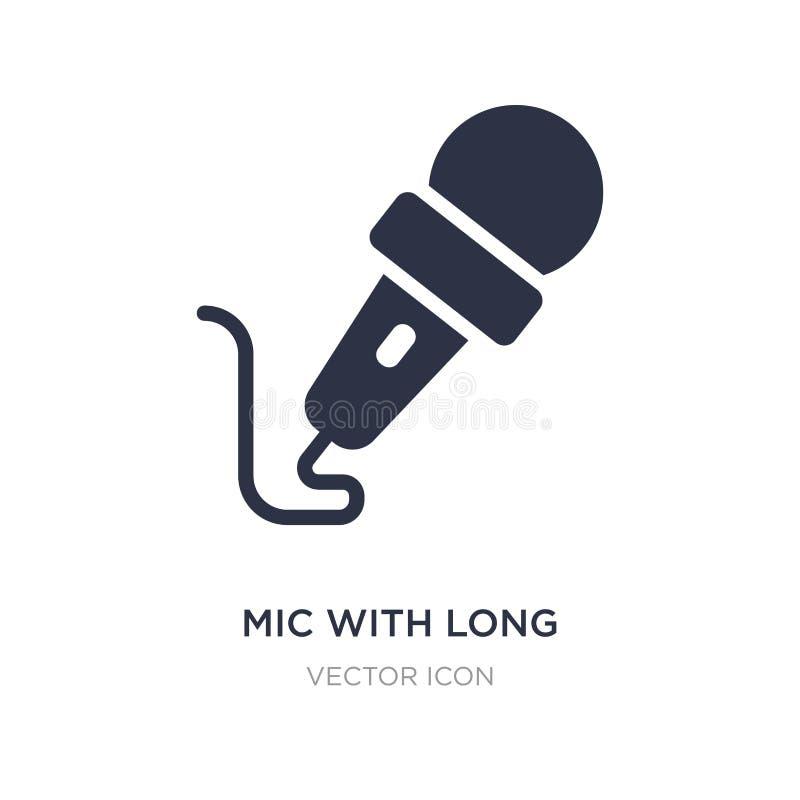 MIC avec la longue icône de câble sur le fond blanc Illustration simple d'élément de concept de technologie illustration de vecteur