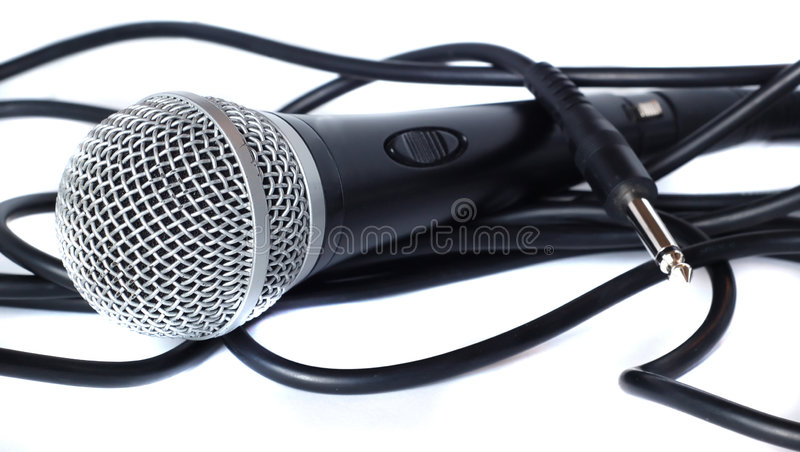 Mic and Cable spool royalty free stock images